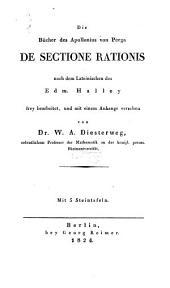 Die bücher des Apollonius von Perga De sectione rationis