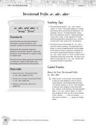 Content Area Vocabulary Level 5 Directional Prefix A Ab Abs  Book PDF