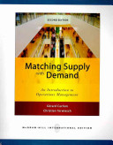 Matching Supply with Demand Book