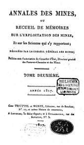 Annales des mines: ou recueil de mémoires sur l'exploitation des mines et sur les sciences et les arts qui s'y rapportent, Volume2