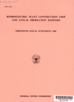 Hydroelectric Plant Construction Cost and Annual Production Expenses  Thirteenth Annual Supplement  1969 PDF