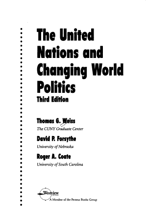 The United Nations And Changing World Politics  Third Edition PDF