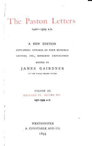 The Paston letters  1422 1509 A D