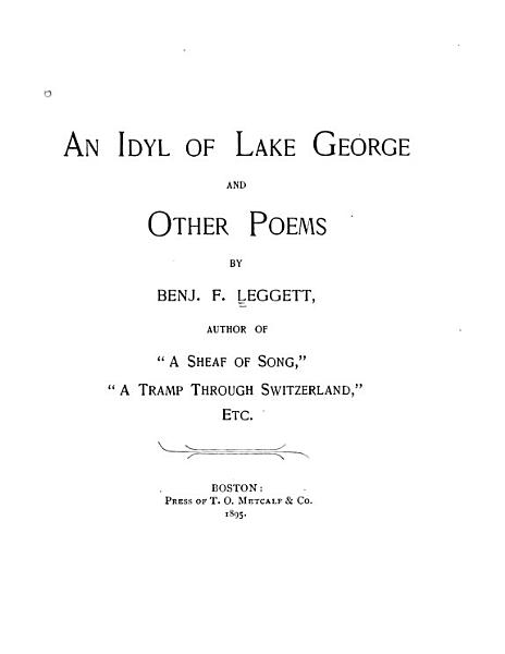 An Idyl of Lake George and Other Poems PDF