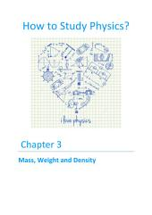 How to Study Physics?: Chapter 3 - Mass, Weight and Density