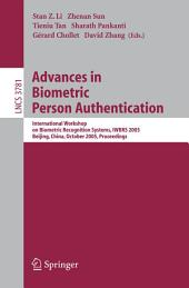 Advances in Biometric Person Authentication: International Workshop on Biometric Recognition Systems, IWBRS 2005, Beijing, China, October 22 – 23, 2005, Proceedings