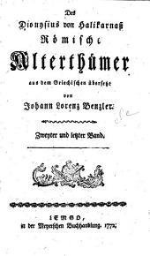 Des Dionysius von Halikarnass Römische Alterthümer: Buch 6-11