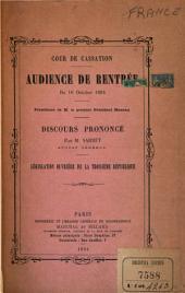 Audience de rentrée du 16 Oct. 1894: Discours prononcé