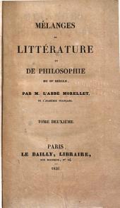 Mélanges de littérature et de philosophie du 18e siècle: Volume2