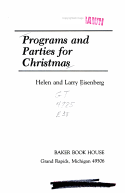 Programs and Parties for Christmas PDF