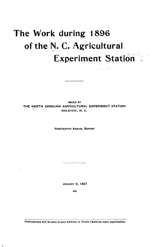 Annual Report of the North Carolina Agricultural Experiment Station