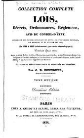 Collection complète des lois, décrets d'intérêe général, traités internationaux, arrêtés, circulaires, instructions, etc: Volume7