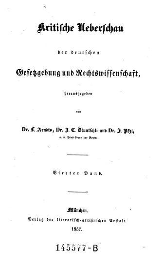 Kritische   berschau der deutschen Gesetzgebung und Rechtswissenschaft PDF