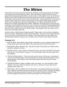 Jan Brett Literature Activities--The Mitten, A Ukranian Folktale