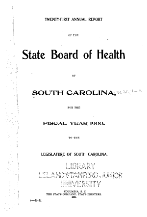 Annual Report of the State Board of Health of South Carolina