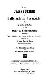 Neue Jahrbücher für Philologie und Pädagogik: Band 61