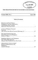 The Philippine Review of Economics & Business
