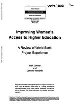 Improving Women's Access to Higher Education