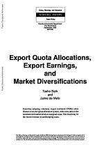 Export Quota Alloacations, Export Earnings, and Market Diversifications
