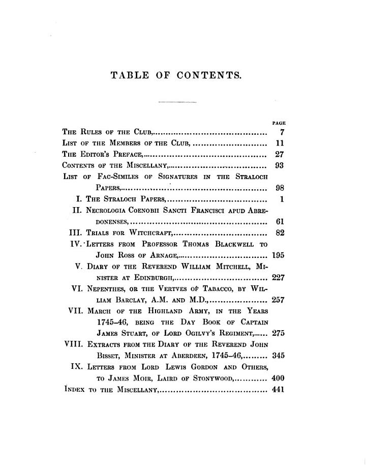 The Miscellany of the Spalding Club