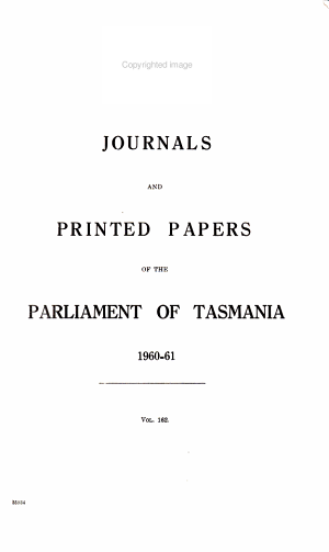 Journals and Printed Papers of the Parliament of Tasmania PDF