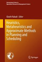 Heuristics  Metaheuristics and Approximate Methods in Planning and Scheduling PDF