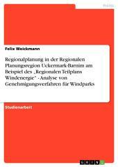 """Regionalplanung in der Regionalen Planungsregion Uckermark-Barnim am Beispiel des """"Regionalen Teilplans Windenergie"""" - Analyse von Genehmigungsverfahren für Windparks"""