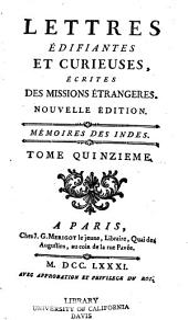 Lettres édifiantes et curieuses: écrites des missions étrangères, Volume15