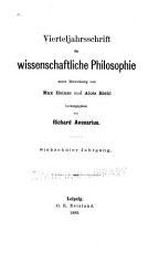 Vierteljahrsschrift f  r wissenschaftliche Philosophie PDF