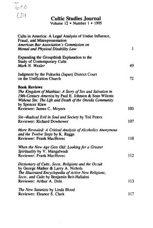 Cultic Studies Journal