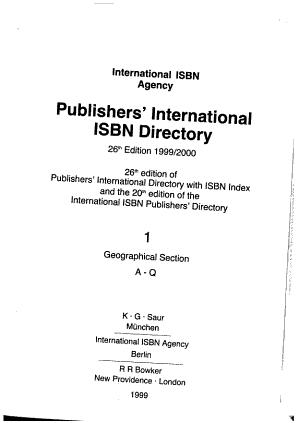 Publishers  International ISBN Directory PDF