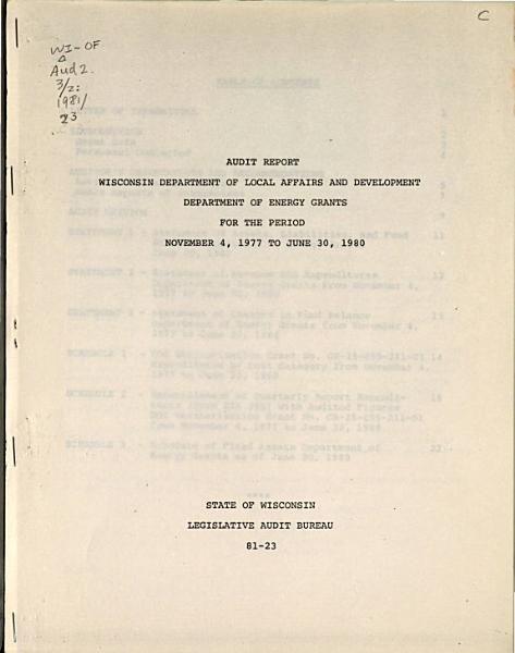 Wisconsin Department of Local Affairs and Development  Department of Energy Grants for the Period November 4  1977 to June 30  1980