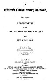 Proceedings of the Church Missionary Society for Africa and the East...: Volume 1