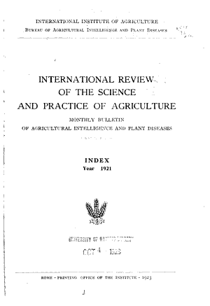 International Reviw of the Science and Practice of Agriculture PDF