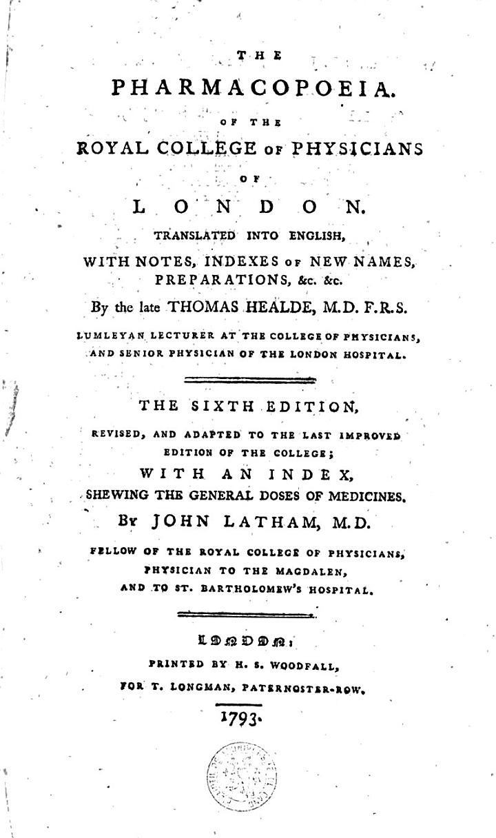 The Pharmacopoeia of the Royal College of Physicians of London