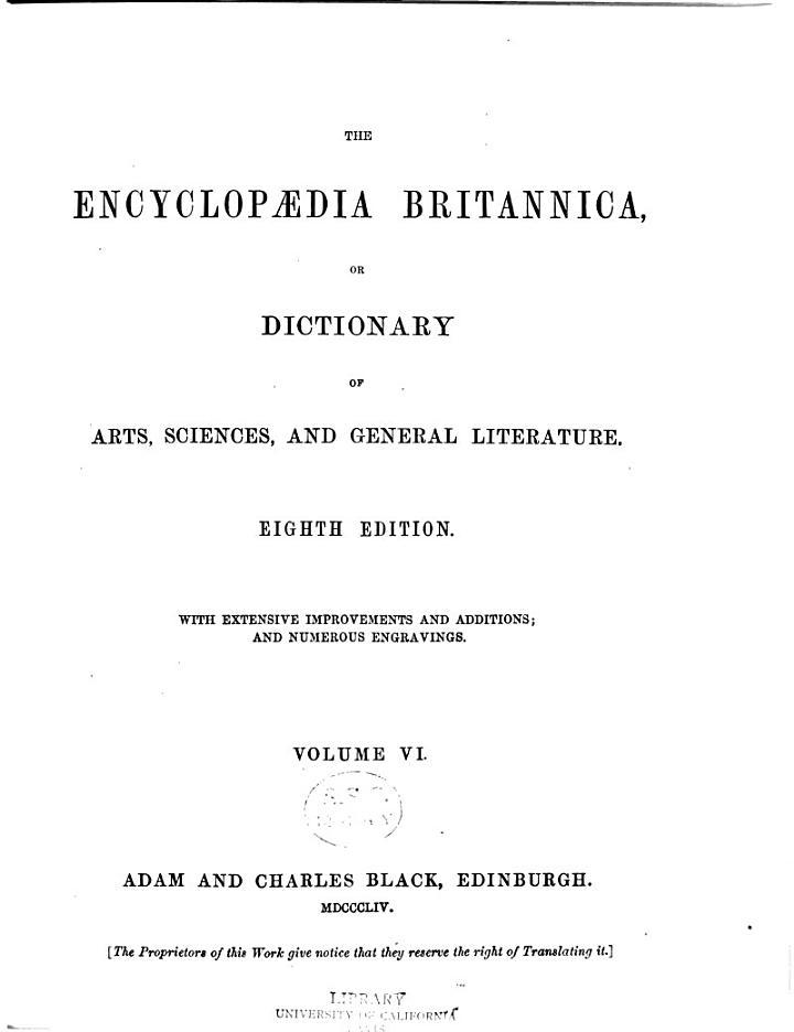 Encyclopædia Britannica, Or, Dictionary of Arts, Sciences and General Literature
