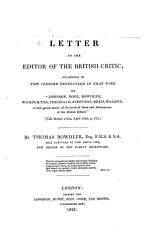 Letter To The Editor Of The British Critic Occasioned By The Censure Pronounced In That Work On Johnson Pope Bowdler Warburton Theobald Steevens Reed Malone Book PDF
