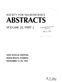 Society for Neuroscience Abstracts