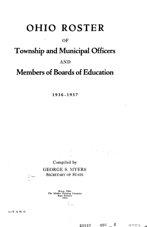 Ohio Roster of Municipal and Township Officers and Members of Boards of Education