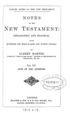Notes  explanatory and practical  on the New Testament  ed  by R  Frew PDF