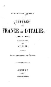 Lettres de France et d'Italie (1847-1852)
