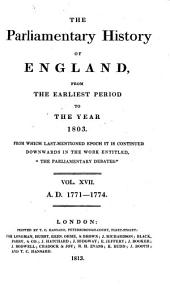 The Parliamentary History of England from the Earliest Period to the Year 1803: Volume 17