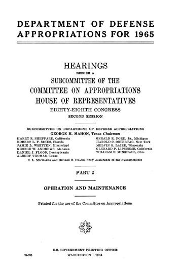 Department of Defense Appropriations for 1965 PDF