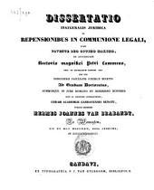 Dissertatio iuridica de responsionibus in communione legali
