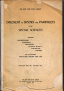 Checklist of Books and Pamphlets in the Social Sciences