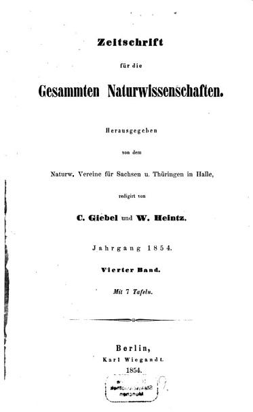 Zeitschrift f  r die gesammten Naturwissenschaften PDF
