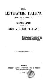 Della letteratura italiana esempj e giudizj esposti da Cesare Cantu a complemento della sua Storia degli italiani