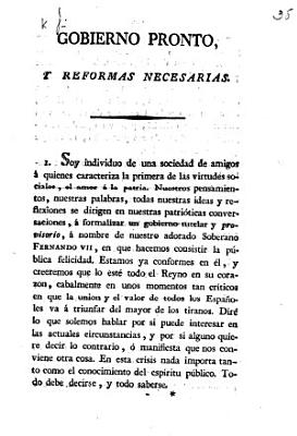 Gobierno pronto  y reformas necesarias   A pamphlet  signed  J   in support of the Provisional Government of Spain  known as the Junta Suprema de Gobierno