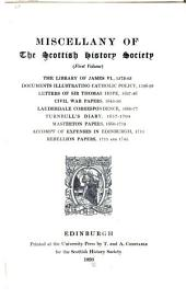 Miscellany of the Scottish History Society: Volume 1; Volume 15