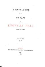 A catalogue of the library at Knowsley hall  Lancashire PDF
